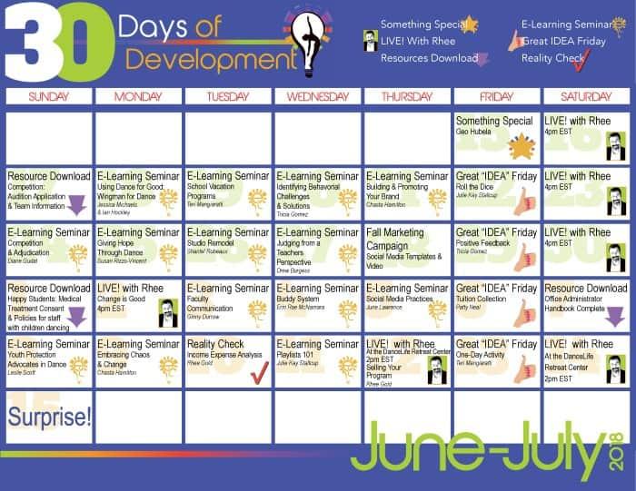 30 Days of Development Calendar REDUCED